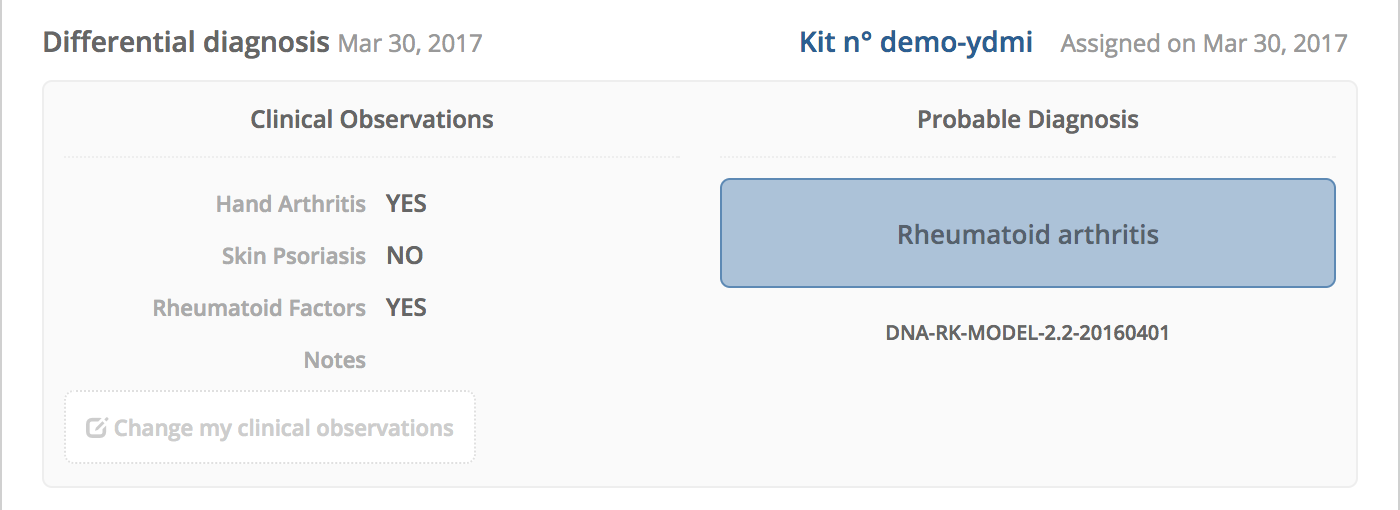 Rheumakit Early Diagnostic Solution For Patients With Undifferientiated Arthritis